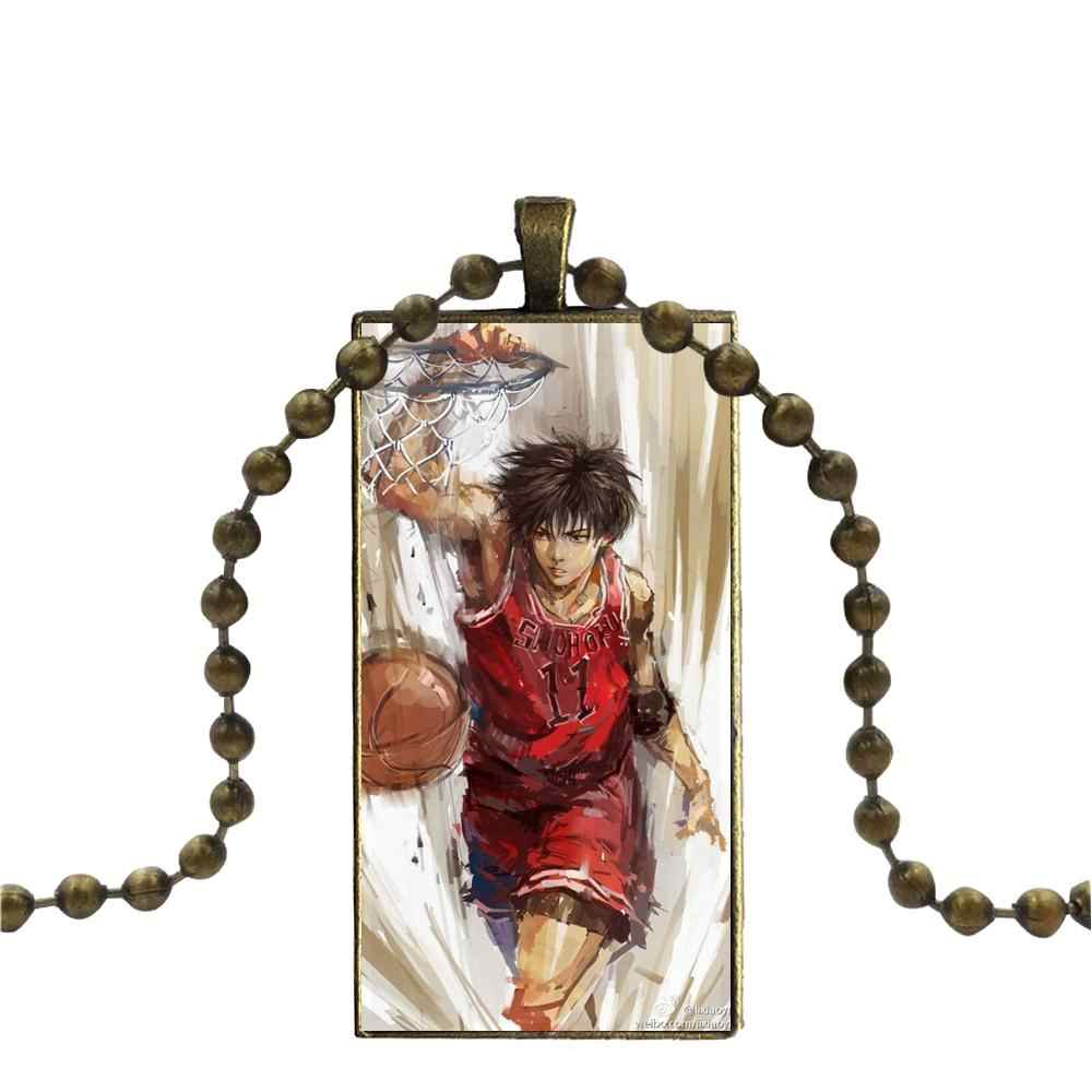 For Unisex Party Gift Anime Slam Dunk Vintage Jewelry Bronze Plated With Glass Cabochon Choker Long Pendant Rectangle Necklace