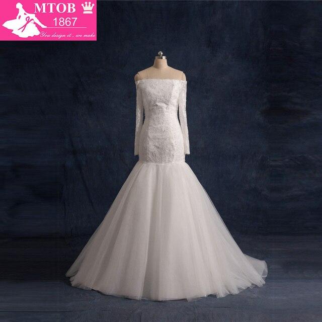 2016 Mermaid Wedding Dresses Long Sleeve Lace Vintage Weding Dress ...