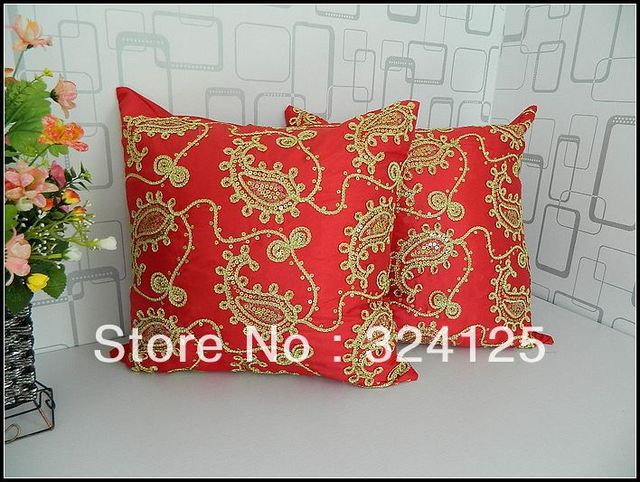"""Wholesale Free Shipping 2pcs High Quality 3D Sequin Flower Shiny Embroidery red pillow cover Cushion cases 18 """" 45X45CM"""