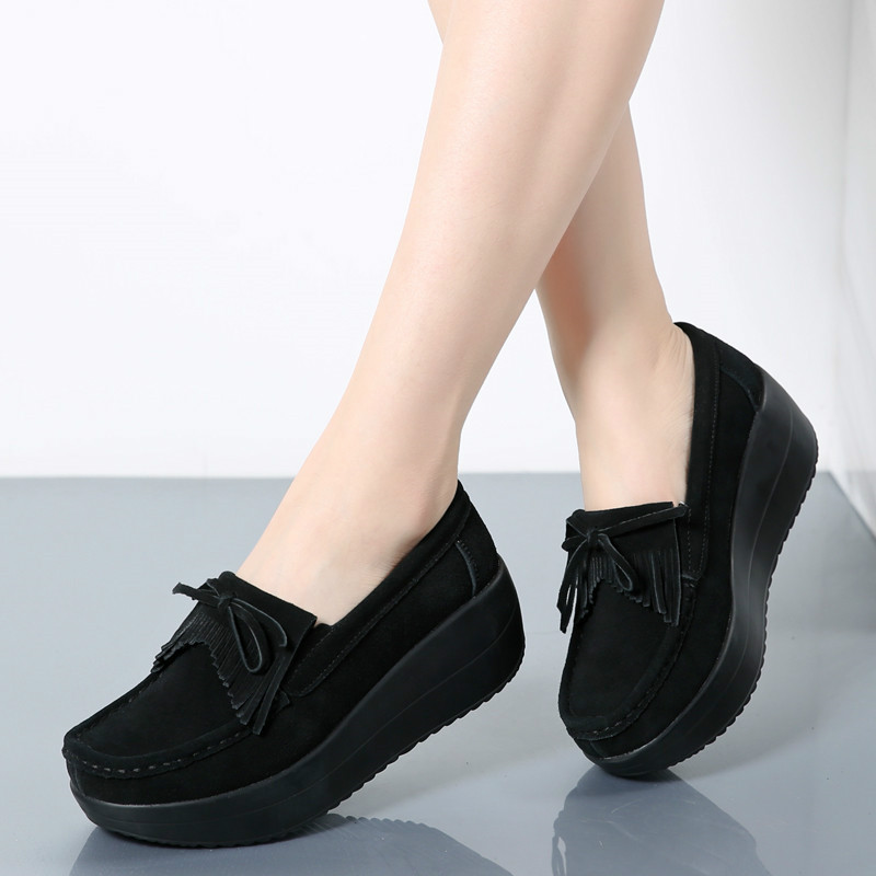 Women Flat Platform Loafers Ladies Elegant   Suede   Moccasins Fringe Shoes Woman Slip On Height Increase Flat Shoes Creepers
