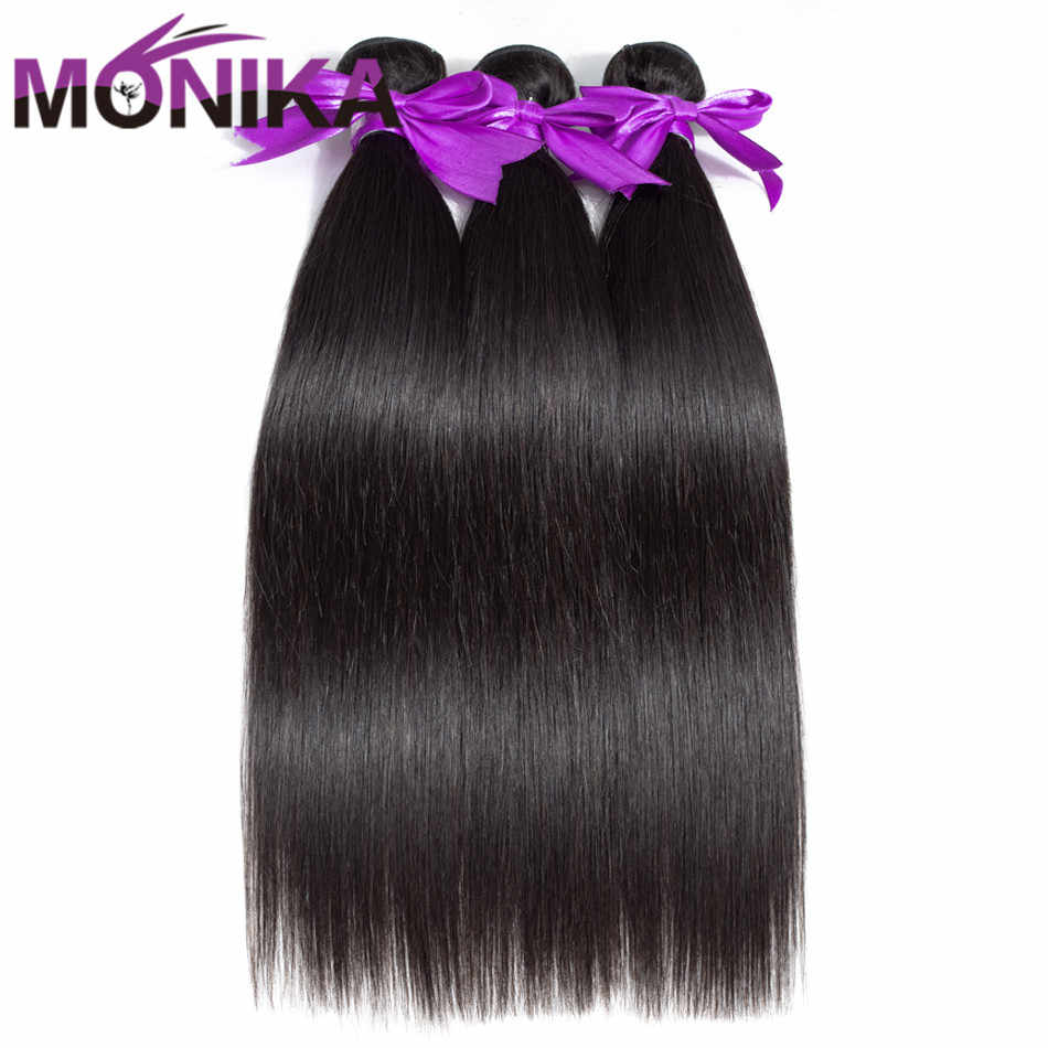 Monika 30 inch Bundles Straight Hair Bundles Human Hair 3 Bundles Brazilian Hair Weave Bundles Non Remy Mecienne Hair Extensions