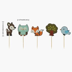 Image 5 - 12pcs Forest Animal Cupcake Topper Fox Owl Birds Happy Birthday Cake Topper For Baby Shower Kids Birthday Party Cake Decorations