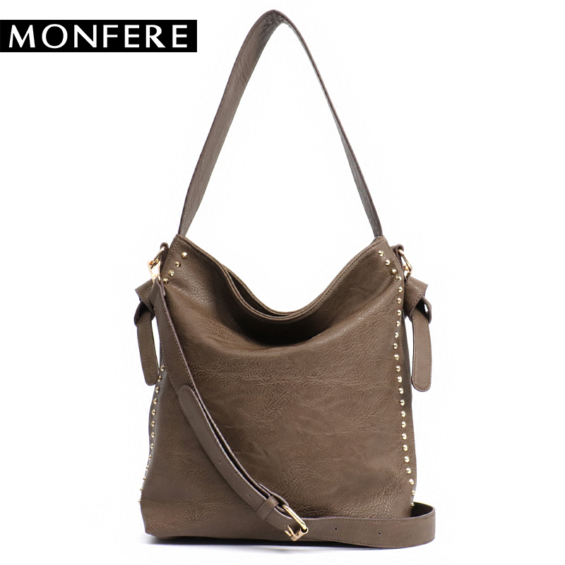MONFERE Large Casual Women Hobo Bags female PU leather Fashion Top-handle Shoulder Bags Rivets Zipper Crossbody Strap handbags