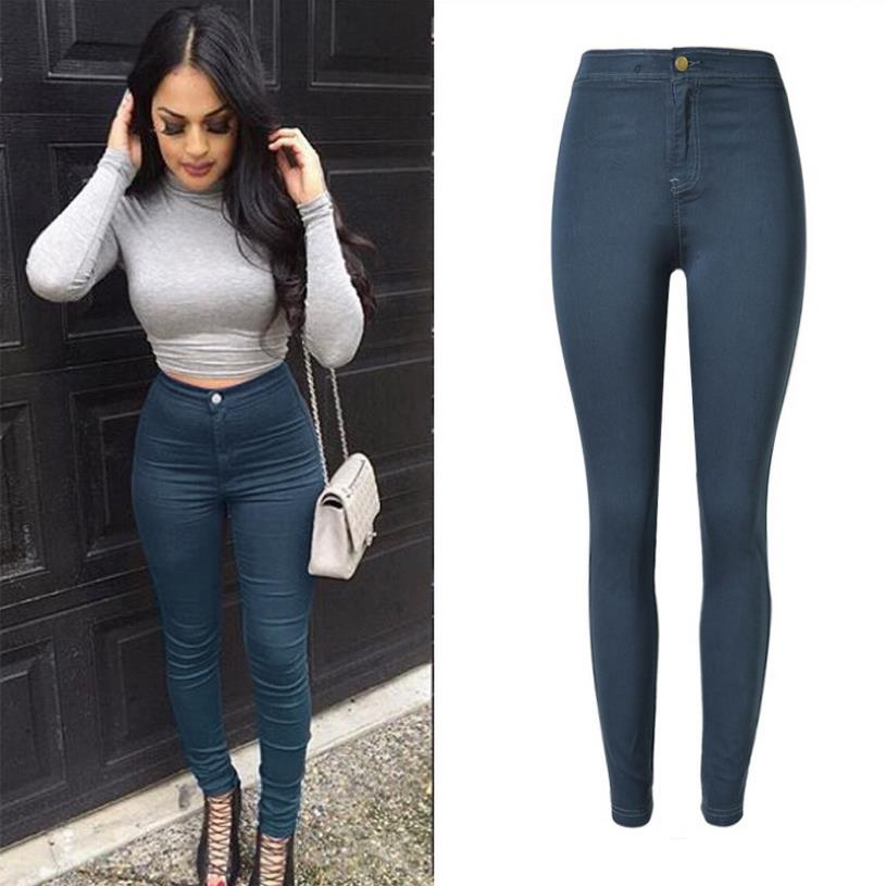 2016 Spring European and American popular waist Slim stretch denim pants feet new color blue and