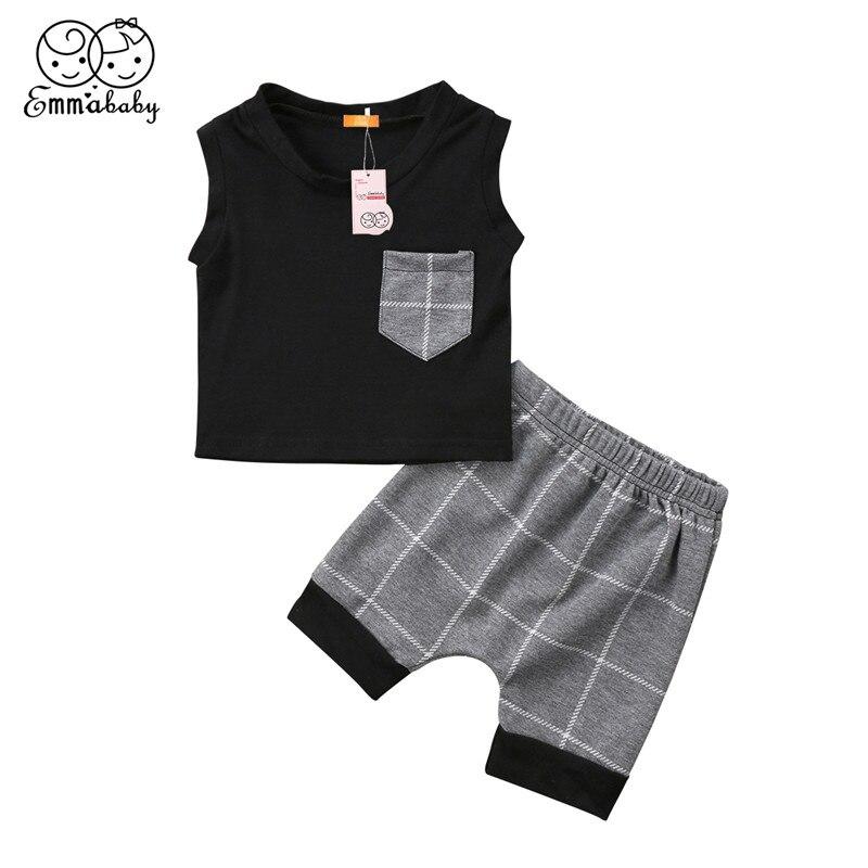 Casual Newborn Baby Boy Clothes Set 2018 Summer New Kid Boys Sleeveless Pocket Tops+Short Pants 2pcs Outfit Baby Boy Clothes Set