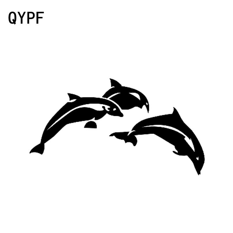QYPF 16.3cm*8.9cm Rise And Dance A Happy Mood In Aqueous Smoothly Vinyl Dolphin Black/Silver Car Sticker Decal C18-0184
