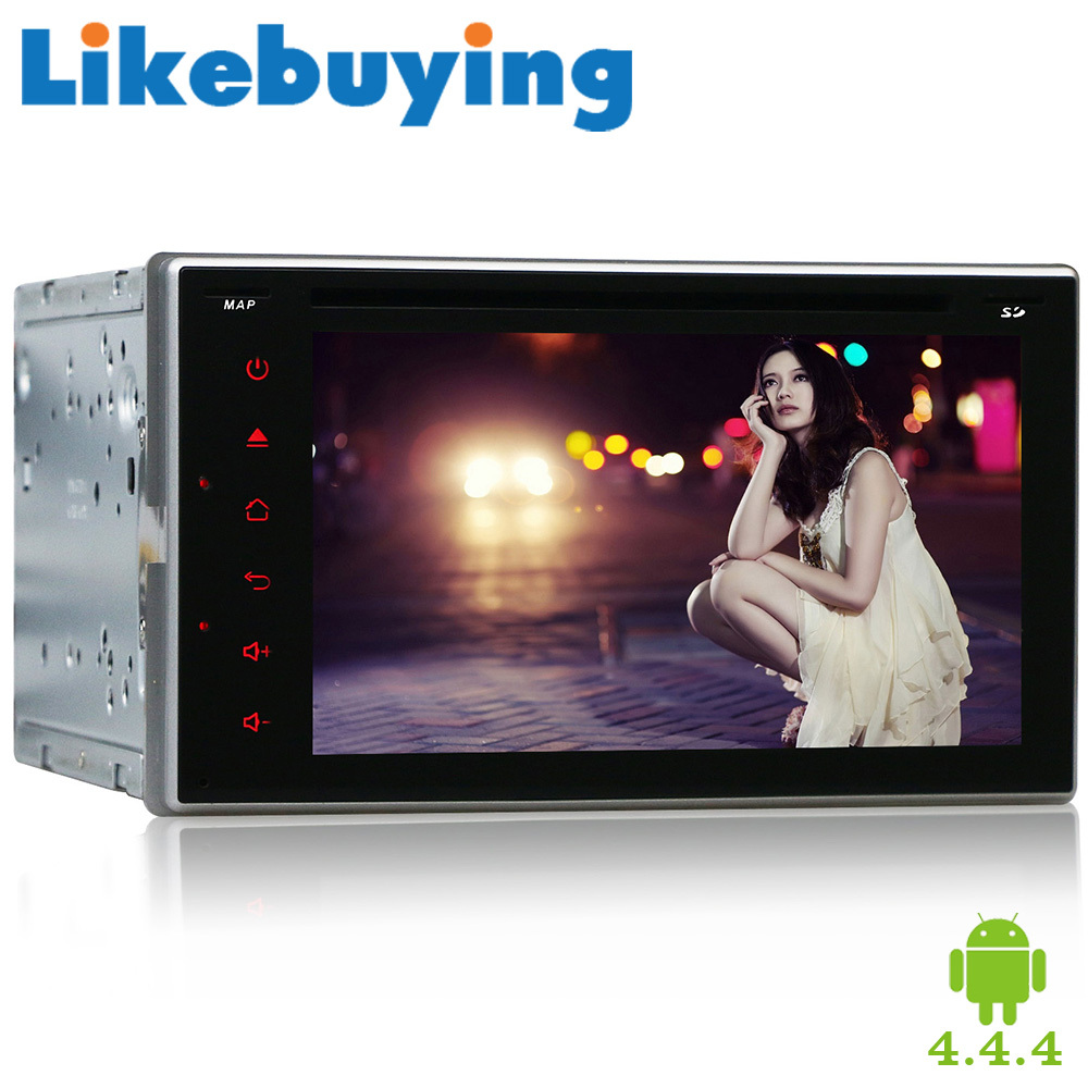 """6.2""""Quad Core Likebuying 800*480 2 Din Android 4.4.4 DVD Automotivo For Universal Car Stereo DVD GPS Navigation Auto Radio WIFI"""
