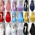 Женщины прямые волосы парики дешевые жаропрочных синтетические парики красный серый розовый фиолетовый зеленый синий блондинка парик длинный черный парик косплей