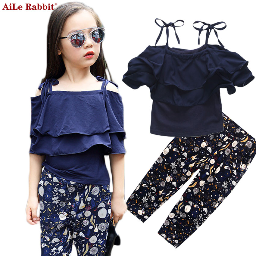 AiLe Rabbit 2017 Girls Fashion Suit Harness + Pants 2 Pieces Lotus Leaf Tops Pants Cotton Summer Shoulder Apparel Kids 4-13y fashion girls new suit tops and pants 2 sets flare sleeve lotus leaf pattern o neck lace bass pants street style girl clothes