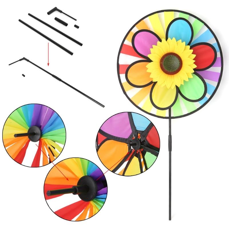 Windmill Toys Children Kids Garden Decoration Flowers Colorful