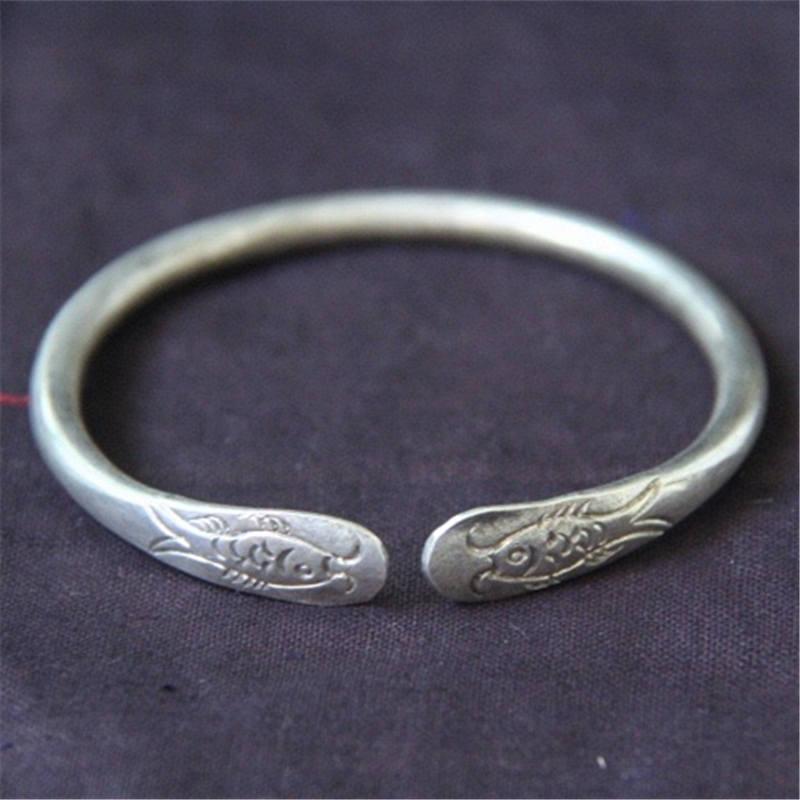 A-pair-Chinese-Miao-silver-dragon-cuff-Bangle-bracelet