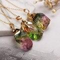 Multicolor piedra de cristal natural original de oro solo colgante de collar suéter cadena de envío libre 9 colores están disponibles
