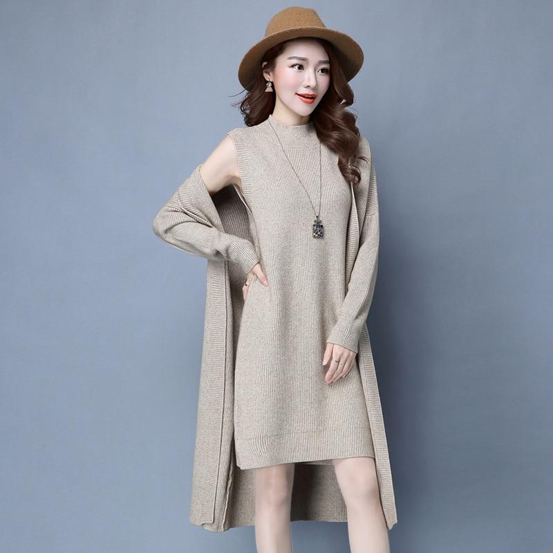 04327d0b85b7 Hiver Automne Femmes Robes Pull À Manches Longues Tricoté Laine Robe Pull  Femelle Droit Robe Femme Vêtements