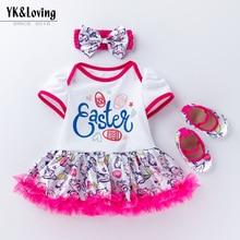 New Easter baby dress, girl cartoon short-sleeved childrens day dress