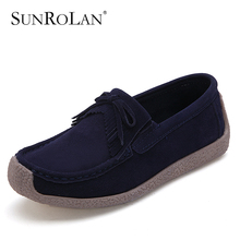 SUNROLAN Women Flat Shoes Leather Moccasins Loafers Tassel Lace-up Genuine Leather Boat Shoes Spring Autumn Driving ShoesBFS1318