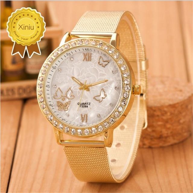 Geneva womens Luxury watches Reloj Mujer Ladies Casual Mesh Full Stainless Steel