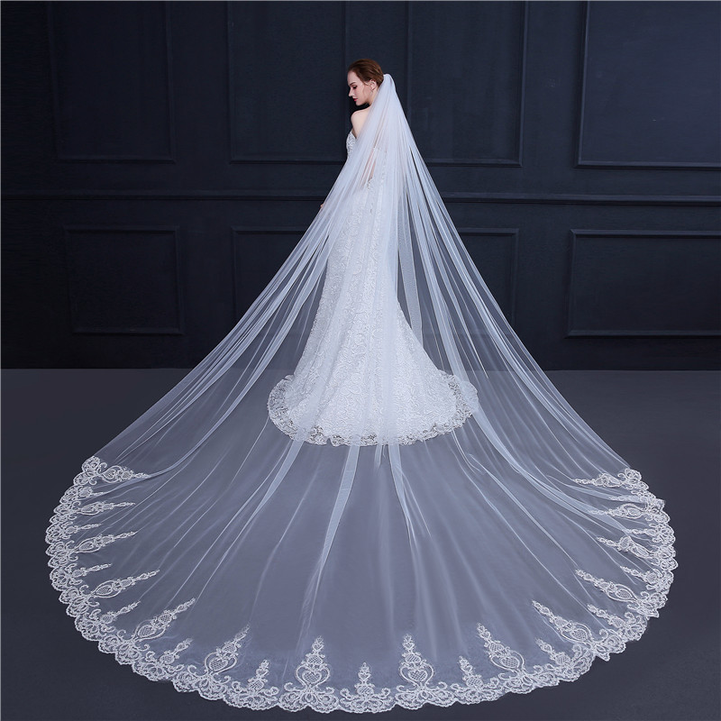 3.5 Meter White Ivory Cathedral Wedding Veils Long Lace Edge Bridal Veil with Comb Wedding Accessories Bride Veu Wedding Veil