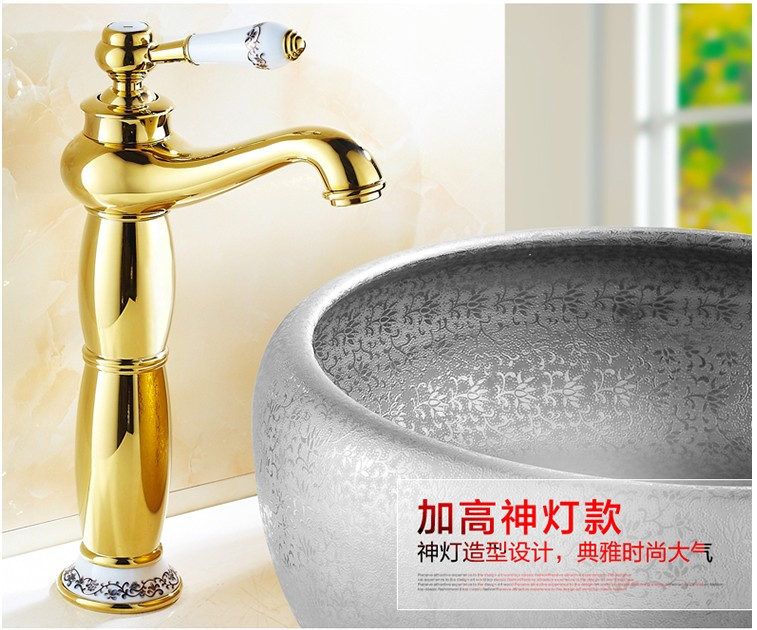 2016 Free shipping New arrival Bathroom Faucet ceramic Gold Brass Basin Sink Faucet /Fashion wash basin brass faucet fashion high quality brass bathroom widespread basin faucet double handle gold plating sink faucet free shipping