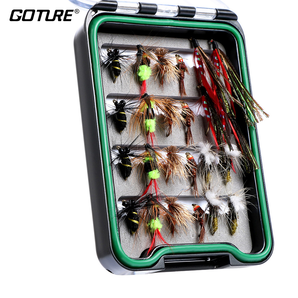 24pcs Waterproof Pocketed Fly Box Handmade Assorted Fly Kit Fishing Lures Dry Flies Streamer Nymph Mustad