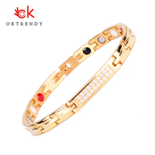 Oktrendy wholesale fashion magnetic titanium bracelet in gold women copper bracelets health wristband with hematite energy
