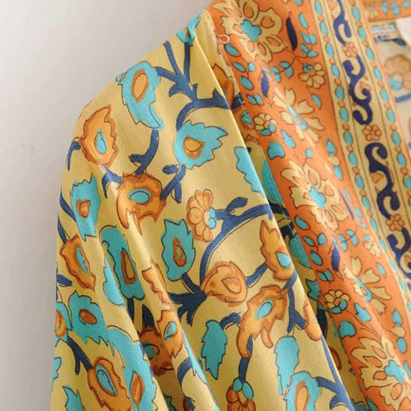 צועני Boho שיק קיץ חוף בציר פרחוני הדפסת Sashes ארוך קימונו נשים אופנה קרדיגן Loose חולצות מקרית Blusas Mujer