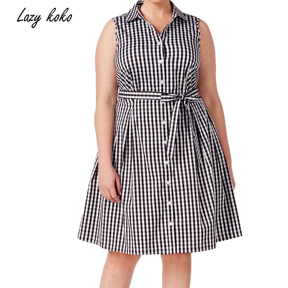 Lazy KoKo 2017 Plus Size Women Clothing Summer Lapel Loose Casual Dress Lacing Stripe Sleeveless ...