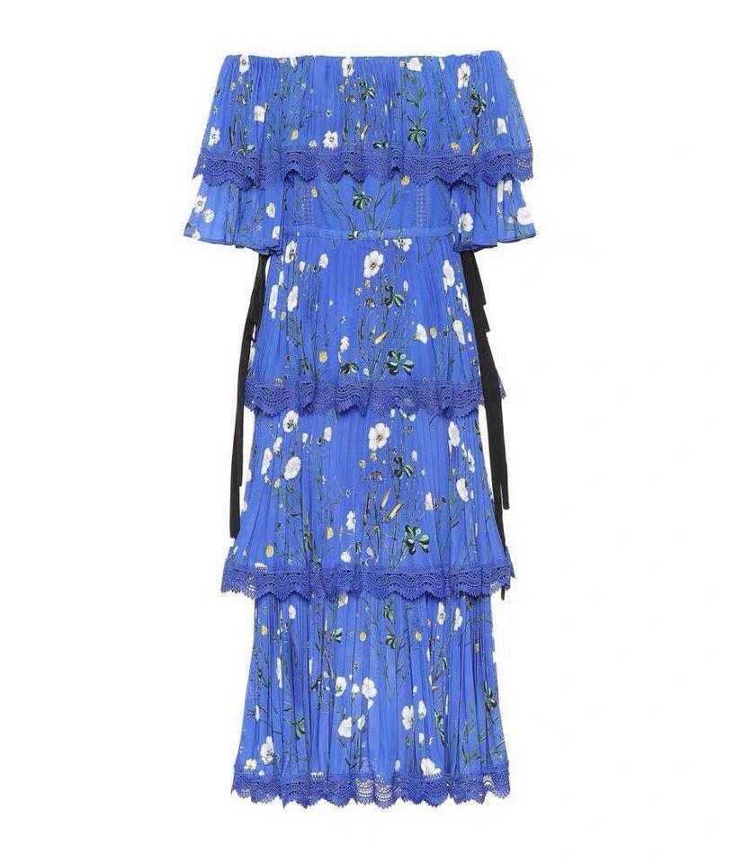 2019 Nieuwe aankomen hoge kwaliteit blue print vrouwen jurk-in Jurken van Dames Kleding op  Groep 2