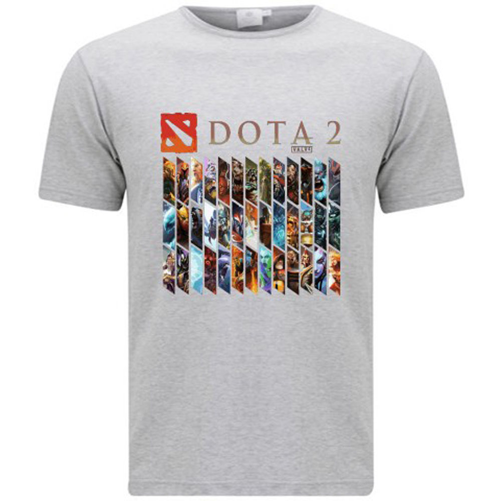 New DOTA 2 Heroes Famous Online Game Mens Grey T-Shirt Size S-3XL T Shits Printing Short Sleeve Casual O-Neck Cotton