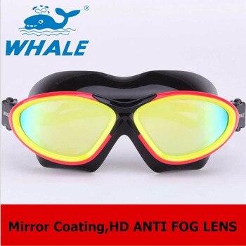 3cbaaa5f6 Ballena de calidad profesional Anti-niebla natación gafas de espejo  revestimiento gafas de ejecutiva de