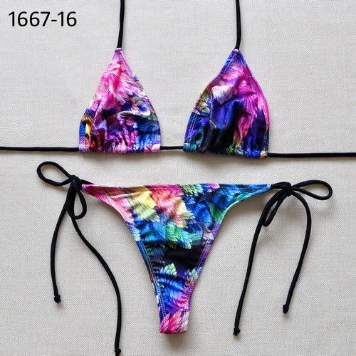 5c5a2db3be Brazilian Classic Solid Triangle Top Thong Bikini Set | Beach ...