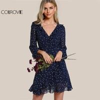 COLROVIE Star Print Ruffle Sweet Dress Women Navy Frilled Surplice Wrap Summer Dress Fashion Flutter Sleeve Elegant Dress