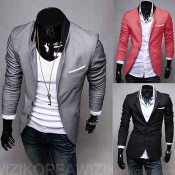 2018 New Men's Casual Slim Stylish fit One Button Suit Blazer Coat Jackets Turn-Down Collar Grey/Black/Watermelon Red 1