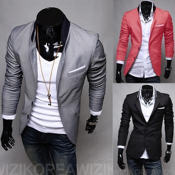 2018 Novos Homens Casuais Magro Slim fit One Button Suit Blazer Casacos Casacos Turn-Down Collar Cinza / Preto / Vermelho Melancia 1