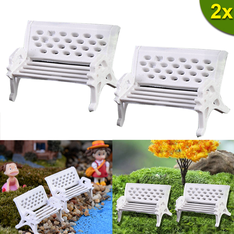 Home Garden Decor Diy Toys 2PCS Miniatures Dollhouse Furniture Mini Silla Chair Bench Stool Ornaments Wooden Props LS