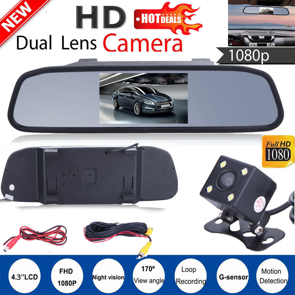 4.3 Car TFT LCD Mirror Monitor+Wired Reverse Car Rear View Backup Camera Kit dash camera 4k dvr car recorder dashcam dual 4 3 tft lcd car rear view stand security monitor and camera kit black