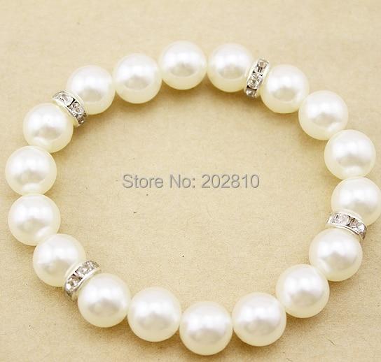 fine quality 10mm white pearl strand bracelet,unisex easy pearl elastic bracelet,cheap pearl set auger bracelet silver plated