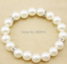 fine quality 10mm white pearl strand bracelet,unisex easy pearl elastic bracelet,cheap pearl set auger bracelet silver plated(China)