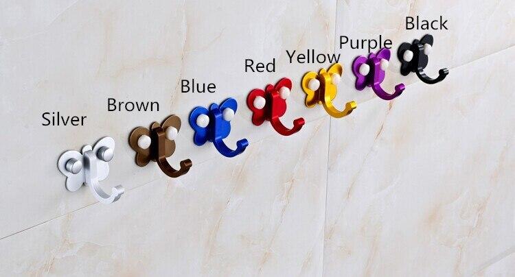 Одиночный алюминиевый сплав настенные крючки серебряный коричневый красный синий черный фиолетовый желтый Одежда Кепка ключи сумка крюк кухня сидя для ванной комнаты