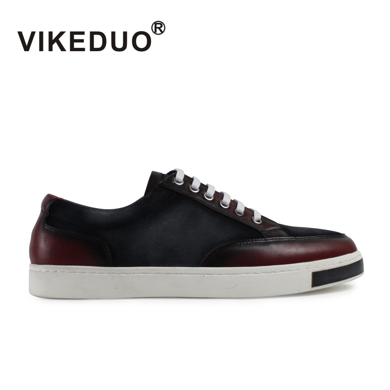 2018 Vikeduo Handmade Flat Mens Leisure Shoes Custom Comfortable Lace Up High Quality Fashion Luxury Casual Original Design