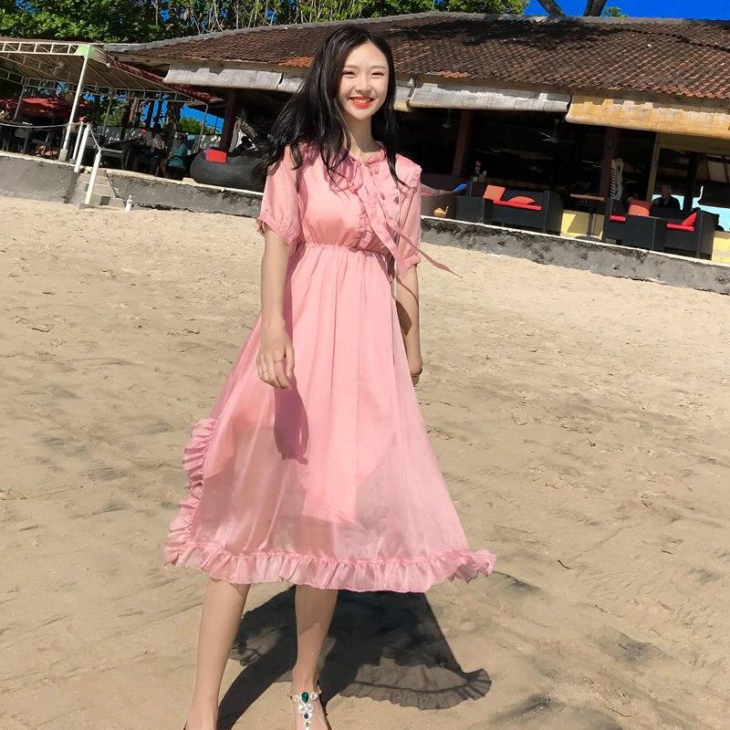 Femme robe 2019 été mousseline de soie robe à volants 9078 rose rouge