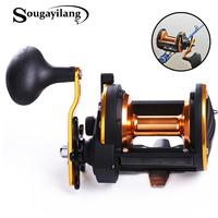 Sougayilang Metal Round Jigging Reel 6:1 Ratio Saltwater Trolling Drum Reels Right Hand Fishing Sea Coil Baitcasting Reel