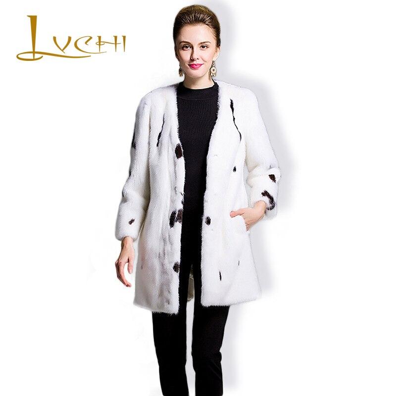 LVCHI Značka 2019 Originální kožená dámská bunda s výstřihem do pravého kožichu pro ženy plné kůže s dlouhým kožichem Polka Dot Mink Coat