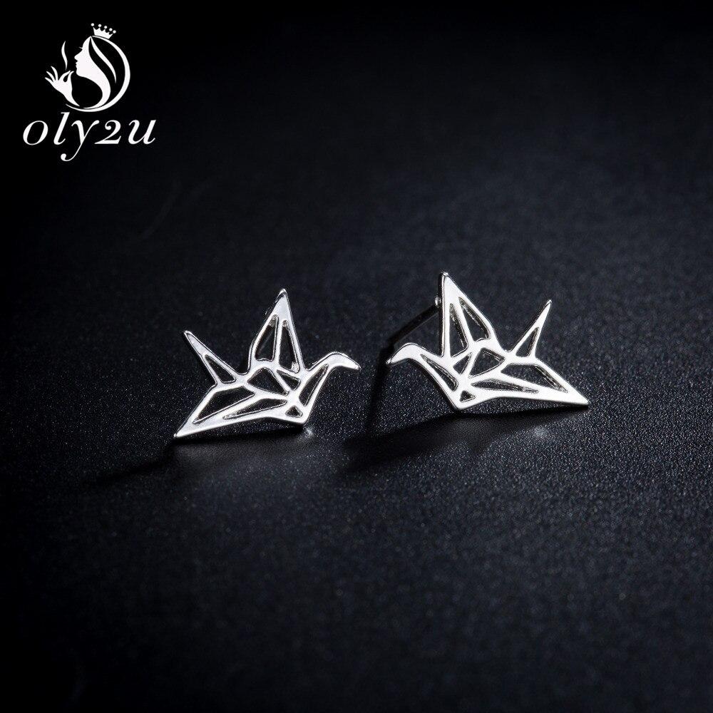 Oly2u 3psc/lot 2018 New Fashion mens stud ear Origami Crane Stud Earrings Girls Simple Jewelry Cute Animal Bird Earring