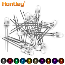 Hontiey 100pcs LED 5mm Diode light DIY White Yellow Red Blue Green Round Water Clear 3mm Light Emitting Diodes Lamp F5 Beads