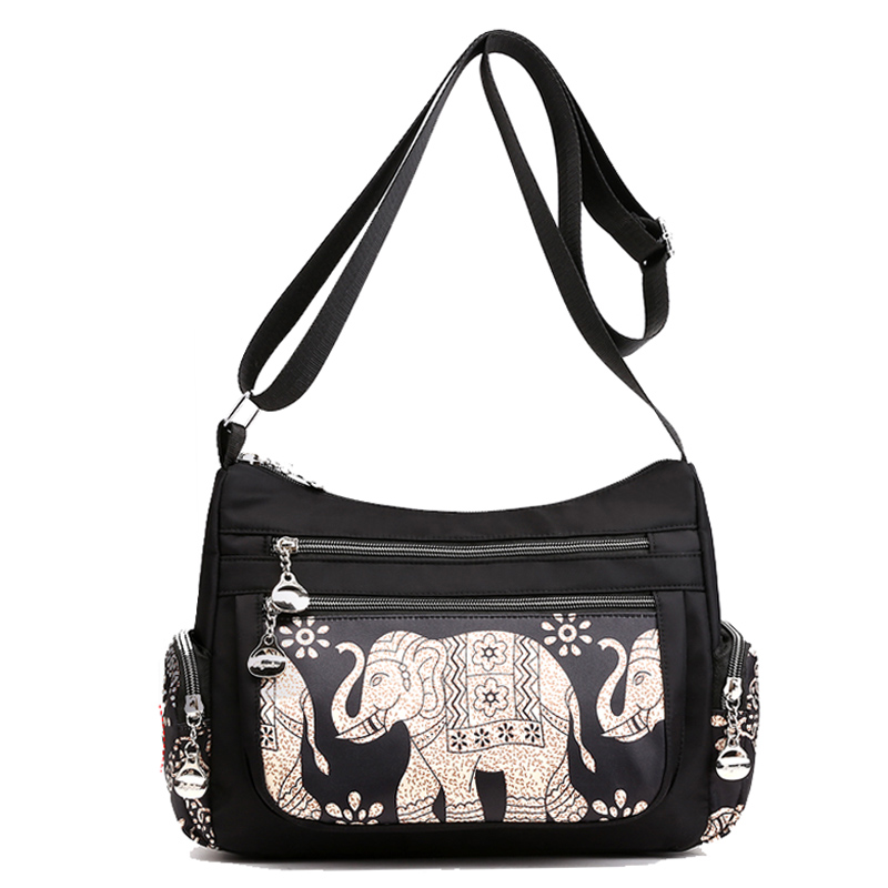 Image 2 - Fashion Cartoon Printing Bag Multi Pocket Women Shoulder Bag High Quality Waterproof Nylon Fabric Messenger Bag Female HandbagShoulder Bags   -