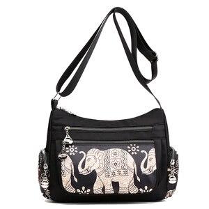 Image 2 - Fashion Cartoon Printing Bag Multi Pocket Women Shoulder Bag High Quality Waterproof Nylon Fabric Messenger Bag Female Handbag
