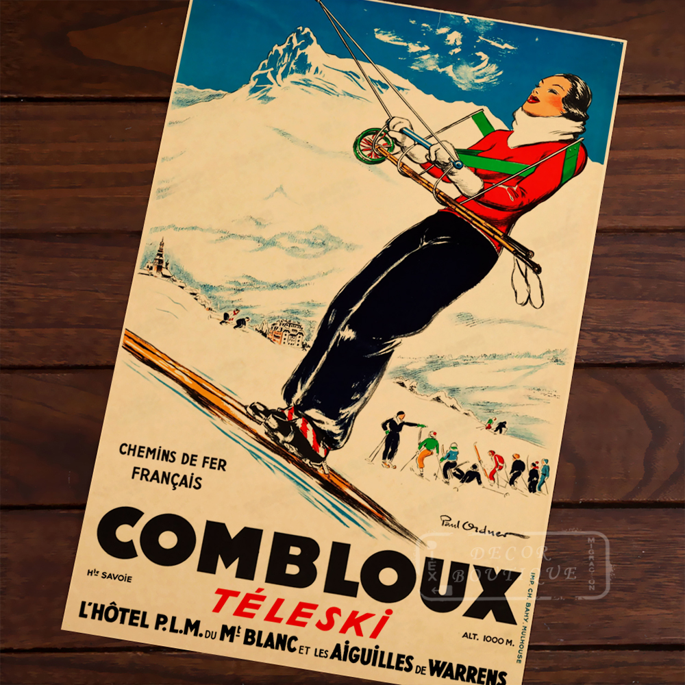 Winter Sports Skiing Art Poster Canvas Painting , Vintage Travel ...