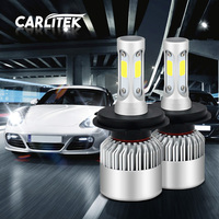 Car H8 H11 H7 LED Headlights 2X36W 6500K 8000LM 12V COB Bulbs 2sides Diodes White Automobiles