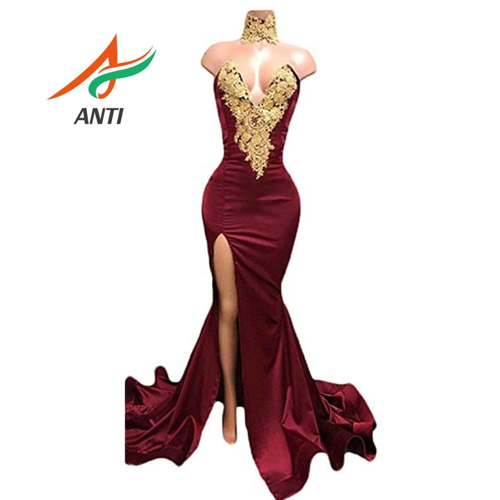 ANTI Burgundy 2019 Long   Prom     Dresses   Sexy V Neck High Split Mermaid Formal Party Gowns Sleeveless Applique Party Robe De Soiree