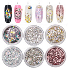 6 boxes/Set Mix Size Nail Art Glitter Powder Hexagon Sequins Dust Nail Glitter Manicure Nail Craft Decorations Accessories Tools